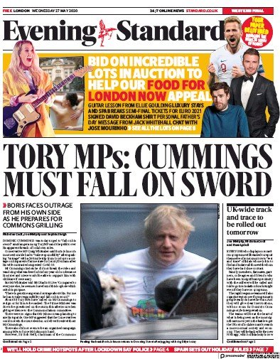 London Evening Standard Newspaper Front Page (UK) for 28 May 2020