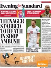 London Evening Standard (UK) Newspaper Front Page for 28 June 2019