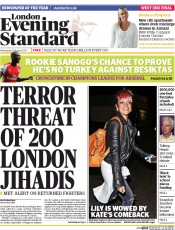 London Evening Standard (UK) Newspaper Front Page for 28 August 2014
