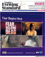 London Evening Standard (UK) Newspaper Front Page for 28 August 2015