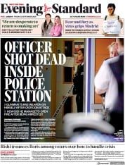 London Evening Standard front page for 28 September 2020