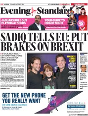 London Evening Standard (UK) Newspaper Front Page for 29 October 2018