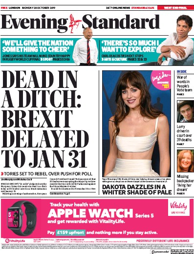 London Evening Standard Newspaper Front Page (UK) for 29 October 2019
