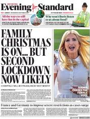 London Evening Standard (UK) Newspaper Front Page for 29 October 2020