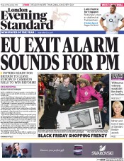 London Evening Standard (UK) Newspaper Front Page for 29 November 2014