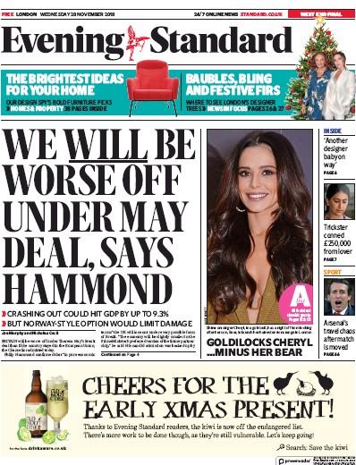 London Evening Standard Newspaper Front Page (UK) for 29 November 2018