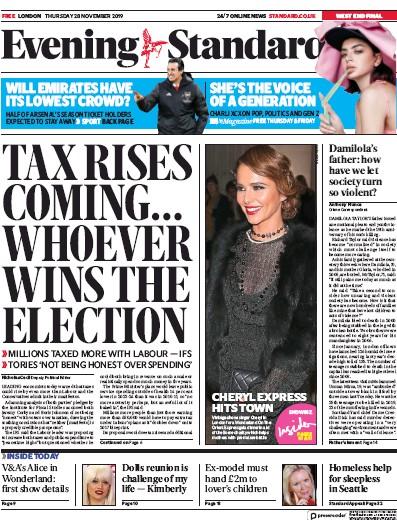 London Evening Standard Newspaper Front Page (UK) for 29 November 2019