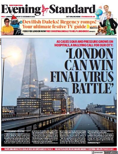 London Evening Standard Newspaper Front Page (UK) for 29 December 2020