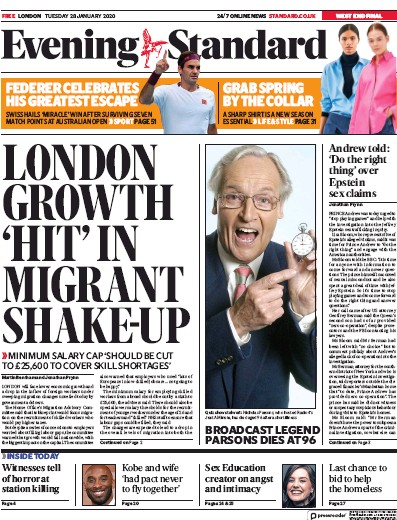 London Evening Standard Newspaper Front Page (UK) for 29 January 2020