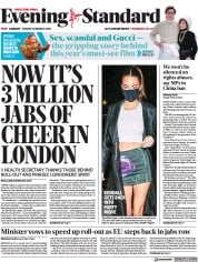 London Evening Standard (UK) Newspaper Front Page for 29 March 2021