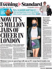 London Evening Standard front page for 29 March 2021