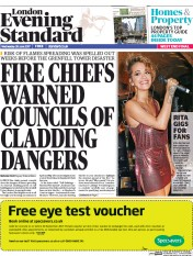 London Evening Standard (UK) Newspaper Front Page for 29 June 2017