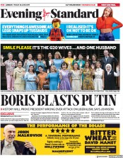 London Evening Standard (UK) Newspaper Front Page for 29 June 2019