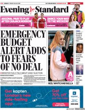 London Evening Standard () Newspaper Front Page for 29 July 2019