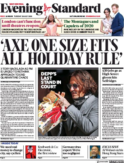 London Evening Standard Newspaper Front Page (UK) for 29 July 2020