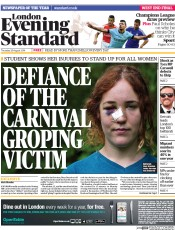 London Evening Standard (UK) Newspaper Front Page for 29 August 2014