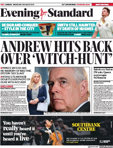 London Evening Standard Newspaper Front Page (UK) for 29 August 2019
