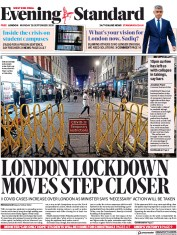 London Evening Standard front page for 29 September 2020