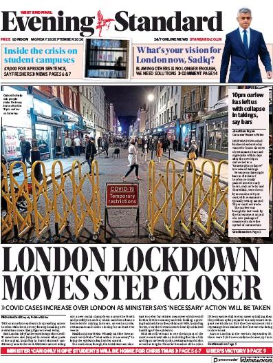 London Evening Standard Newspaper Front Page (UK) for 29 September 2020