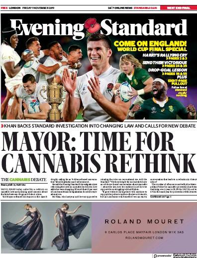 London Evening Standard Newspaper Front Page (UK) for 2 November 2019