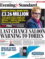 London Evening Standard (UK) Newspaper Front Page for 2 February 2019