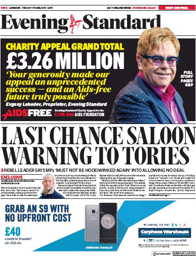 London Evening Standard Newspaper Front Page (UK) for 2 February 2019