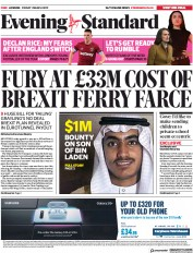 London Evening Standard () Newspaper Front Page for 2 March 2019