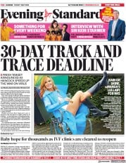 London Evening Standard (UK) Newspaper Front Page for 2 May 2020