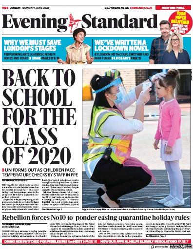 London Evening Standard Newspaper Front Page (UK) for 2 June 2020