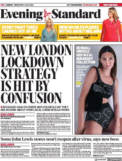 London Evening Standard Newspaper Front Page (UK) for 2 July 2020