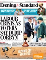 London Evening Standard (UK) Newspaper Front Page for 2 August 2019