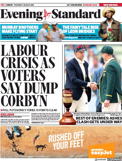 London Evening Standard Newspaper Front Page (UK) for 2 August 2019