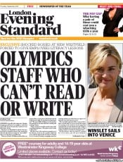 London Evening Standard (UK) Newspaper Front Page for 2 September 2011