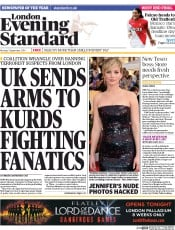 London Evening Standard (UK) Newspaper Front Page for 2 September 2014