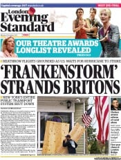 London Evening Standard Newspaper Front Page (UK) for 30 October 2012