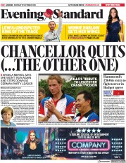 London Evening Standard (UK) Newspaper Front Page for 30 October 2018