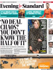 London Evening Standard (UK) Newspaper Front Page for 30 November 2018