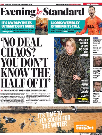 London Evening Standard Newspaper Front Page (UK) for 30 November 2018