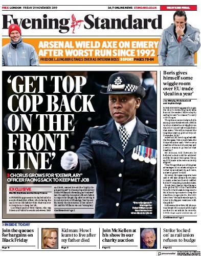 London Evening Standard Newspaper Front Page (UK) for 30 November 2019
