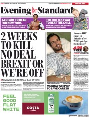 London Evening Standard (UK) Newspaper Front Page for 30 January 2019