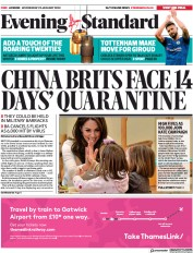 London Evening Standard (UK) Newspaper Front Page for 30 January 2020