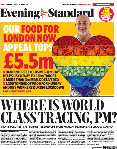 London Evening Standard Newspaper Front Page (UK) for 30 May 2020