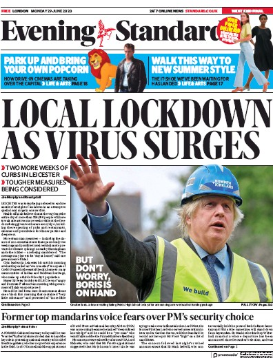 London Evening Standard Newspaper Front Page (UK) for 30 June 2020