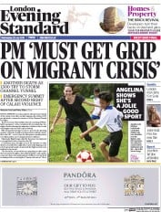 London Evening Standard (UK) Newspaper Front Page for 30 July 2015