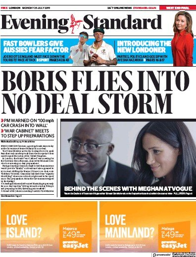 London Evening Standard Newspaper Front Page (UK) for 30 July 2019