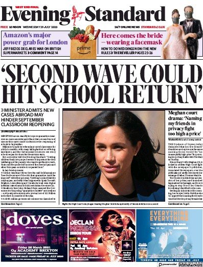 London Evening Standard Newspaper Front Page (UK) for 30 July 2020