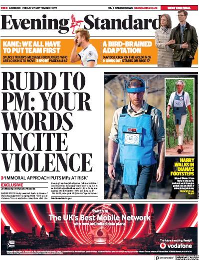 London Evening Standard Newspaper Front Page (UK) for 30 September 2019