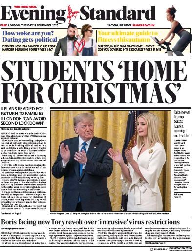 London Evening Standard Newspaper Front Page (UK) for 30 September 2020