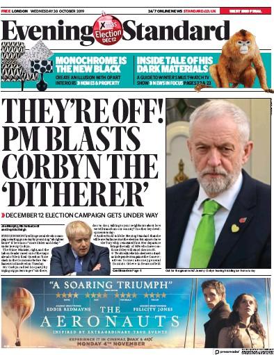 London Evening Standard Newspaper Front Page (UK) for 31 October 2019