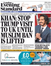 London Evening Standard (UK) Newspaper Front Page for 31 January 2017